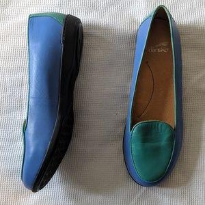 Dansko Natascia Blue and Mint Flats 37